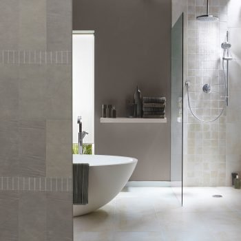 Bathroom Design Featuring Printed Leather Wall Tiles by Keleen Leathers, Inc.