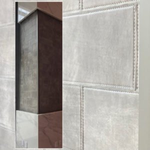 Leather Tiles for Column with Stitch Detail by Keleen Leathers, Inc.