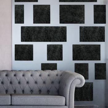 Mixed Metal Wall with Leather Tile Inserts by Keleen Leathers, Inc.