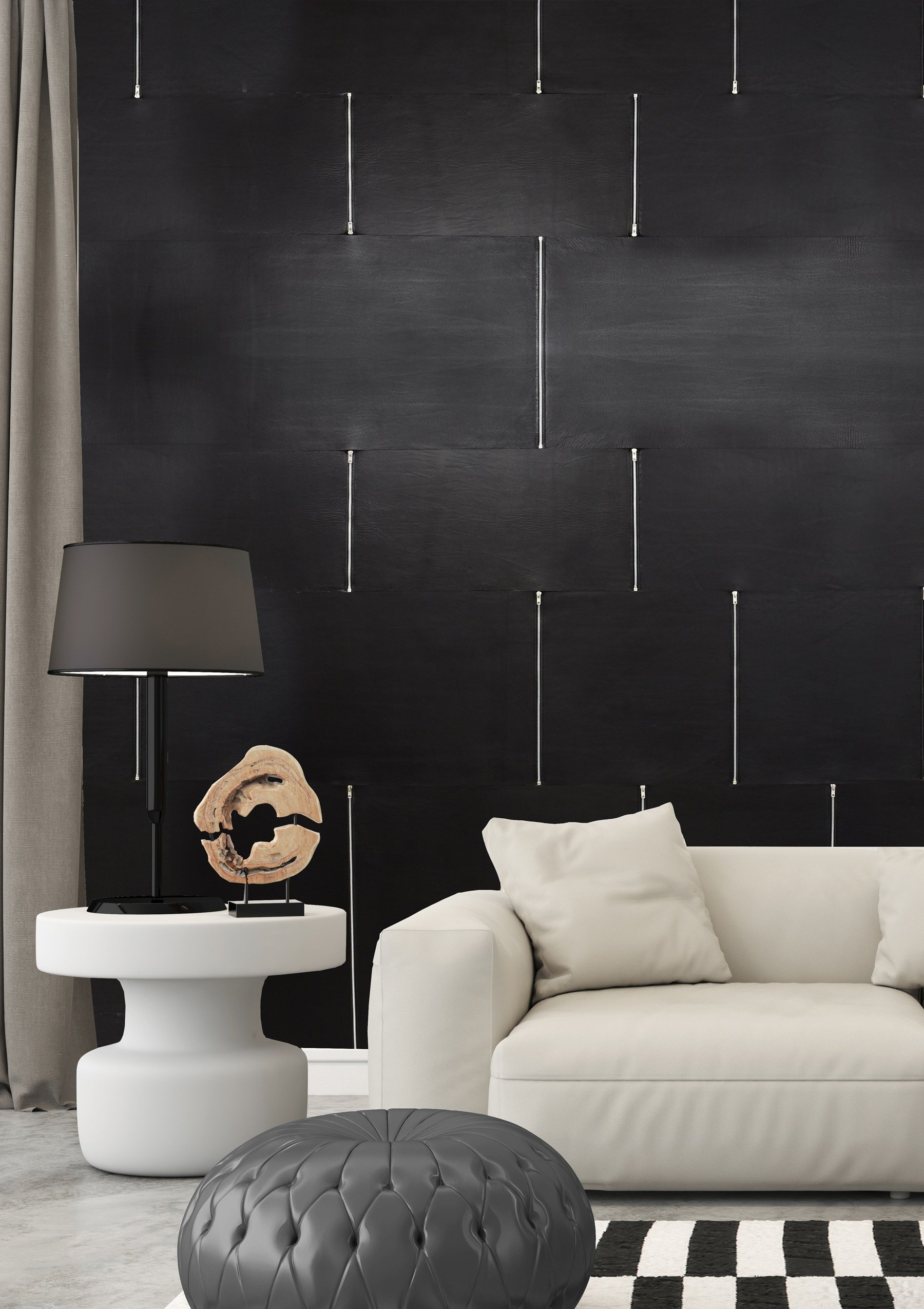 Luxury Leather Wall Tiles with Zipper Details by Keleen Leathers, Inc.