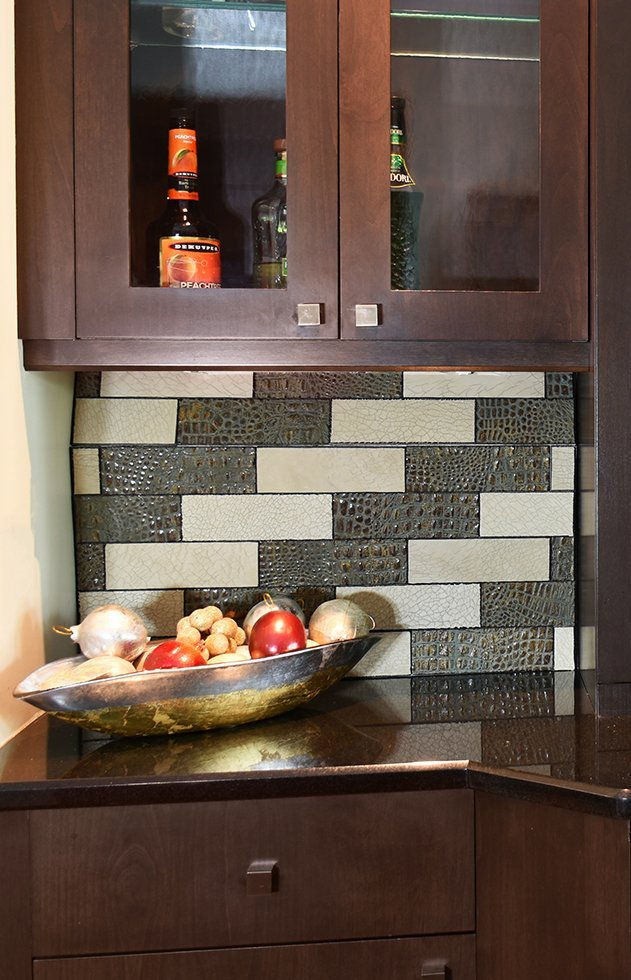 Kitchen Backsplash Leather Wall Tiles by Keleen Leathers, Inc.