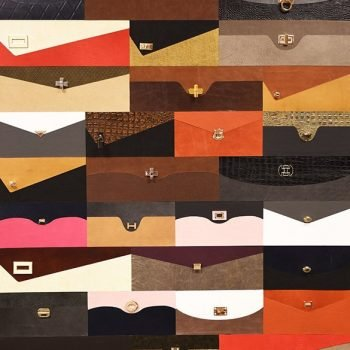Purse Style Leather Wall Tiles with Hardware Detail by Keleen Leathers, Inc.