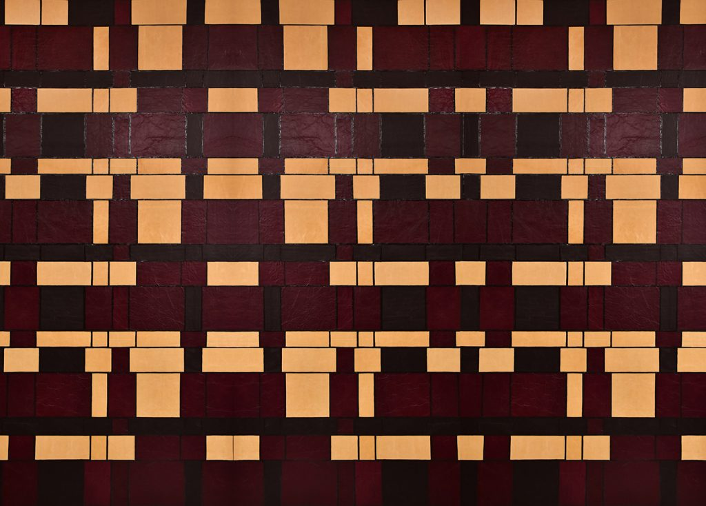 Medici Inspired Leather Wall Tiles with Painted Edges by Keleen Leathers, Inc.