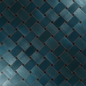 Woven Lattice Leather Wall Tiles with Painted Edge by Keleen Leathers, Inc.