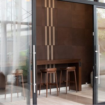 Leather Wall Tiles at North Harbor Tower Chicago by Keleen Leathers, Inc.