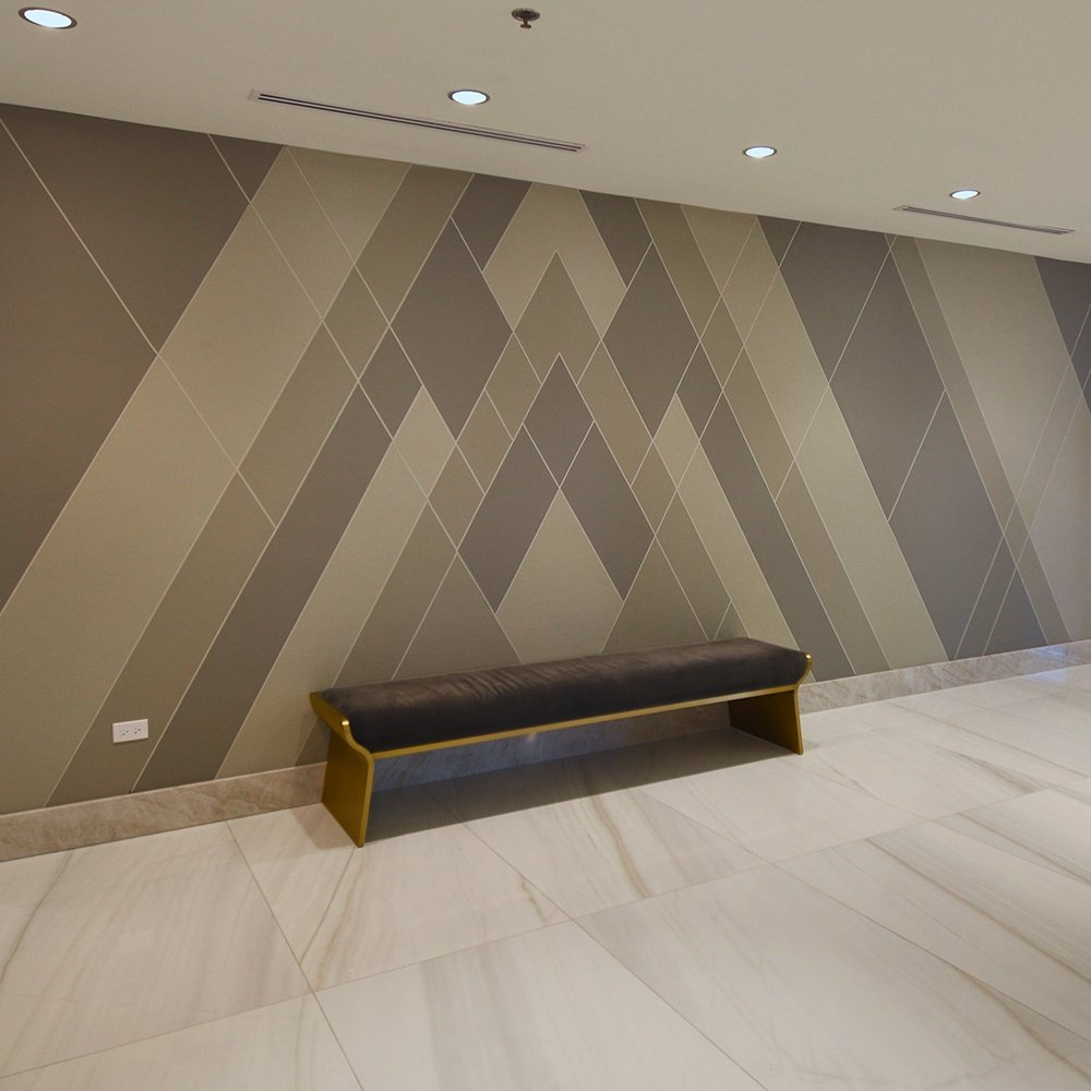 Interior Design by Whitespace Featuring KLAD Luxury Leather Wall at Downtown Marriott Mag Mile 2019