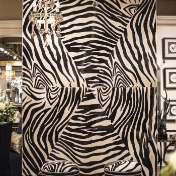 keleen leathers leather wall featuring stenciled zebra cowhides for posh design