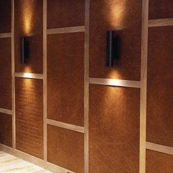 Acoustical Leather Wall Tiles for Basement Design by Keleen Leathers, Inc.