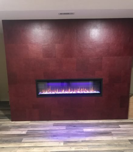 fireplace surround decorative leather red tiles keleen leathers chicago