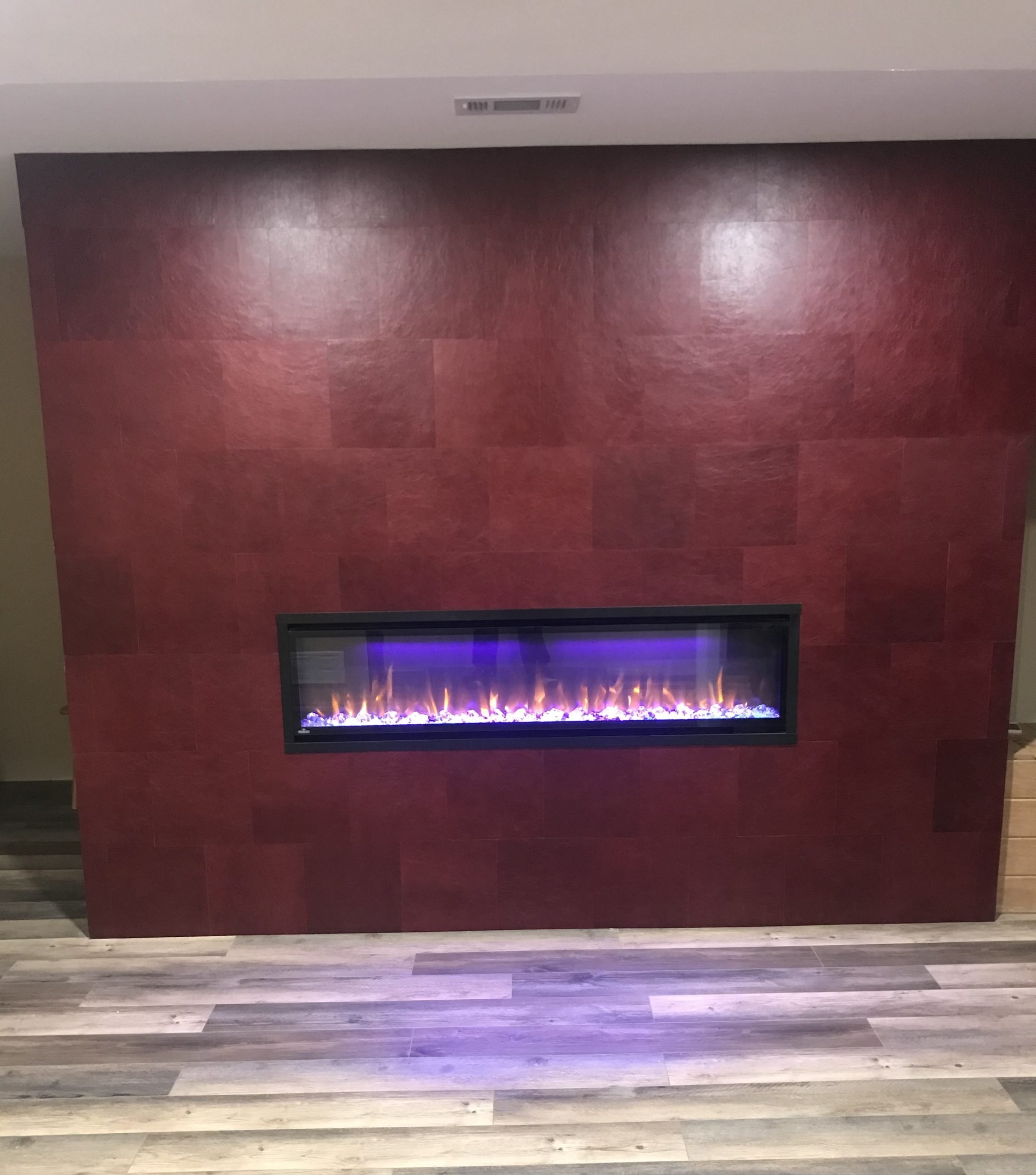 fireplace tiles in red leather surround panels keleen leathers chicago