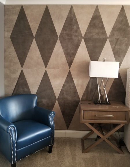 Diamond Wall Pattern in Leather Wall Tiles by Keleen Leathers Chicago
