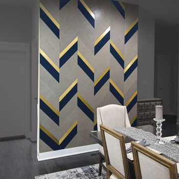 mixed metal and leather wall tiles luxury interior design